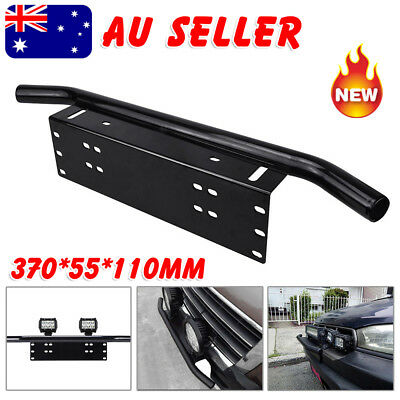 License Number Plate Frame Bull Bar Bumper Mount Light Lamp LED Bracket Black