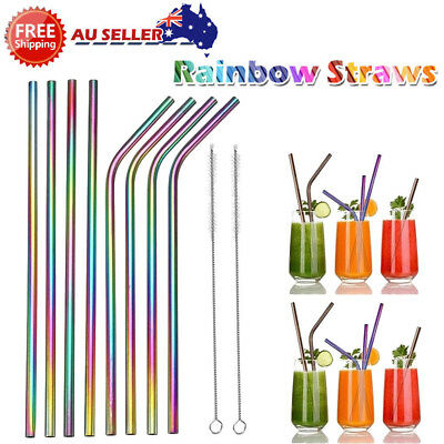 Reusable Rainbow Stainless Steel Metal Drinking Straw Straws Cleaning Brush MN