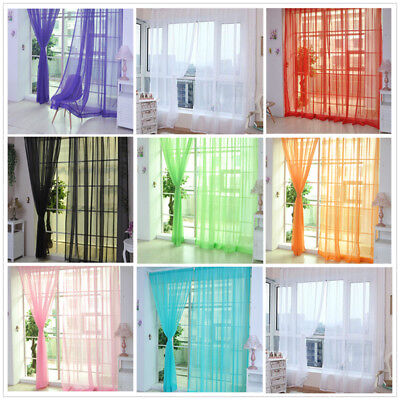 Home Floral Tulle Voile Door Window Curtain Drape Panel Sheer Scarf Valances Hot