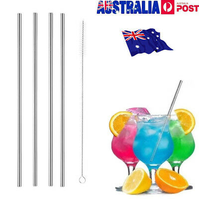 4x Stainless Steel Metal Drinking Straw Straws Bent Reusable Washable & 1 Brush