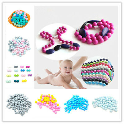 10Pcs Round Baby Silicone Teething Beads Teether DIY Necklace Chain Chew Grind