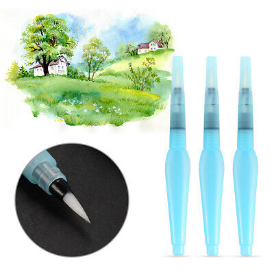 3x Artist Ink Pen Water Brush+Dropper for Watercolor Calligraphy Drawing AC1137