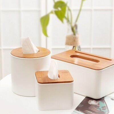 Tissue Box Napkin Case Dispenser Wooden Cover Paper Storage Holder Organizer