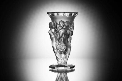 ART DECO Crystal Grape Harvest Large Vintage Vase Czech Bohemian Hand Cut Glass