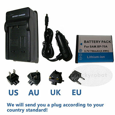 BP-70A battery+charger For Samsung ES65 ES70 TL105 TL110 PL100 PL80 PL100 AQ100