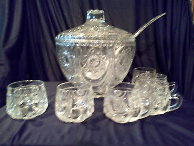 Bleikristall Bowle mit 6 Gläsern / Lead Crystal Bowl with 6 Glasses