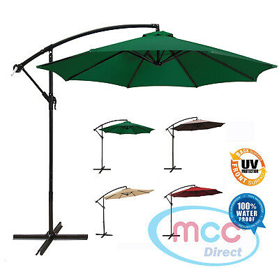 MCC® 3 m Patio Parasol Cantilever Hanging Garden Beach Banana Umbrella Canopy
