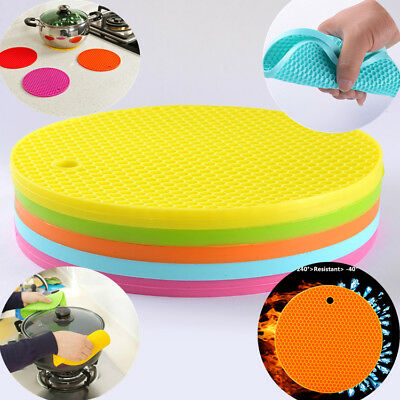 Silicone Pot Pad Trivet Heat Resistant Non-Slip Circle Mats Insulation Placemats