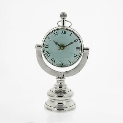 Silver and White Aluminium Pocket Watch Style Mantel Table Clock on Stand 26cm