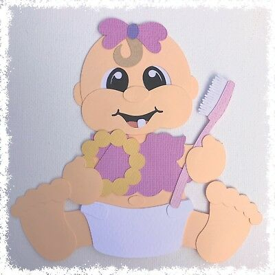 Fully assembled 'My First Tooth baby girl' paper piecing