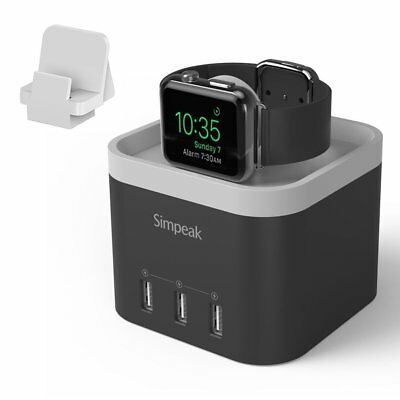 Simpeak 4 Port USB Charger Stand for Apple Watch 1/2/3 [Nightstand Mode] Black