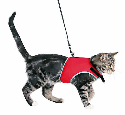 Fully Adjustable Soft Cat Harness with Reflective Piping & Leash