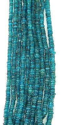 80 Ct Natural Blue Apatite Wheel Tyre Smooth Rondelle Heishi Beads String - B109