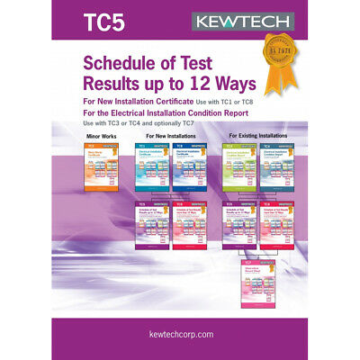 Kewtech TC5 Shedule of Test results 12 Ways