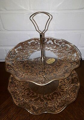Vintage Round Chance Glass 2 Tier Cake Stand Gold Floral Original Box