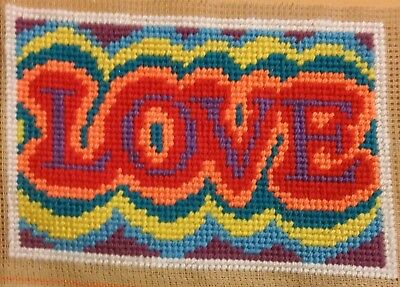 Modern Tapestry: Unique Handmade Mini 'LOVE' Sampler