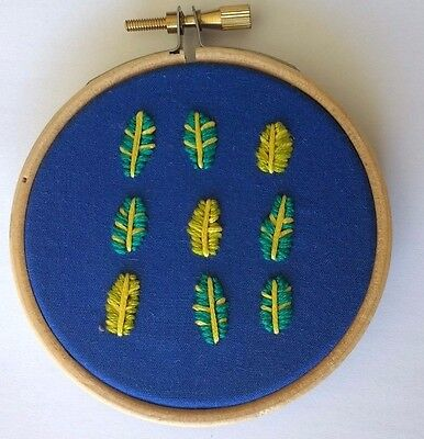 Modern Mini Embroidery: Unique Handmade 'Leaf' Sampler (Framed)