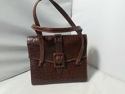 Vintage Women's Purse Brown Pebbled Texture Structured Hand Bag Top Flap