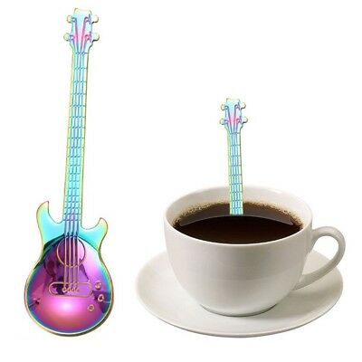 Rainbow Iridescent Guitar Spoon Music Lover Musician Drinks Tea Colourful Coffee