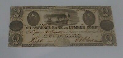 1837, $2 Canadian St.Lawrence Bank & Lumber Company. #3818, Uncirculated.