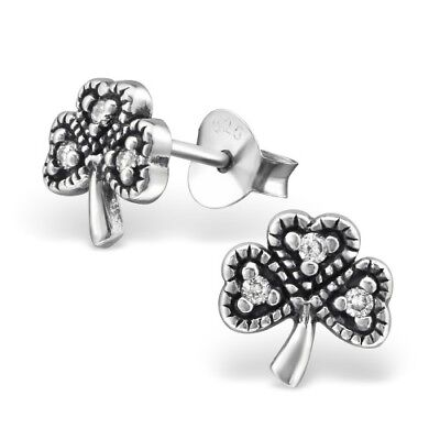 925 Sterling Silver Shamrock with Crystal Cubic Zirconia Stud Earrings