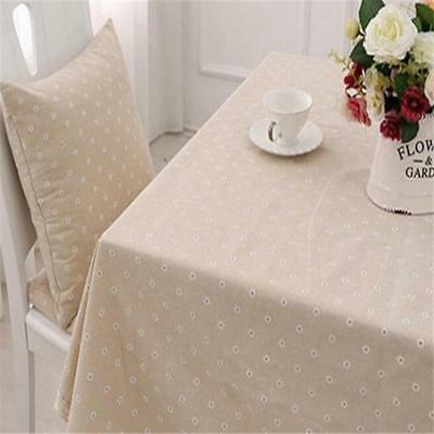 Fashion Vintage Square Linen Tablecloth With Crochet Lace & Embroidery LIN