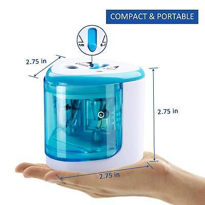 Blue Automatic Electric Pencil Sharpener Cutter for Kids Office Professional Art