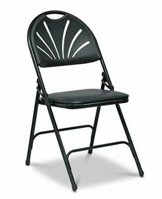 Folding Padded Faux Leather Chairs Black