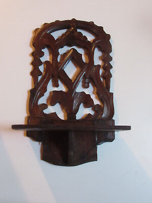 antique wooden shelf braquet carved black forest age about 1910 for small statue