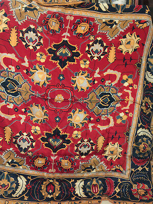"""Vintage Museum of Fine Arts Boston 100% Silk Scarf 31"""" square Red Gold Blue"""