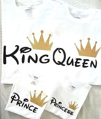 Disney trip King Queen Prince Princess Tee Shirt Family matching Cute T-Shirts