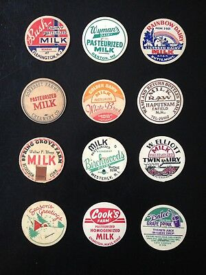 Milk Bottle Cap Lot Of (12)~All Different Dairies Named (#6)