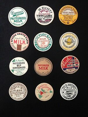 Milk Bottle Cap Lot Of (12)~All Different Dairies Named (#1)