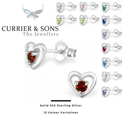 925 Sterling Silver Heart with Birthstone Cubic Zirconia Stud Earrings (Pairs)