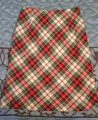Vintage 60s 70s Wool Plaid Skirt Girls 8/10 Bobbie Brooks Red Preppy