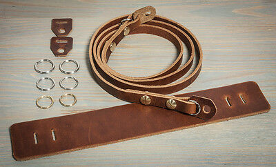 40in Hand made universal leather camera strap.Chestnut with brass Chicago screws