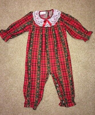 Vintage Girls 24 Months Red Plaid Christmas Pajamas Lace Ruffle Bottom Polyester