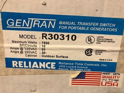 NEW Reliance Manual Transfer Switch Portable Generator R30310 Gentran