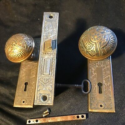 Antique Victorian  Brass Corbin Ceylon Eastlake Lockset & Skeleton Key