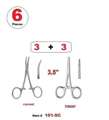 "6 Pcs 3.5"" Hemostat ( Mosquito Forceps ) STRAIGHT & CURVED STAINLESS STEEL"