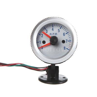 """Silver 2"""" 52mm Car Tachometer Tach Meter Gauge with Holder Cup 0~8000RPM R9D2"""