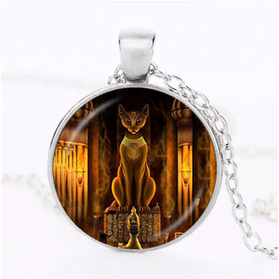 Ancient Egyptian Cat Goddess Statue Egypt Necklace Pendent Jewellery Gift Bag