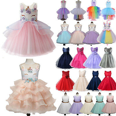 Kids Baby Flower Girls Party Bow-knot Skirt Wedding Bridesmaid Dress Princess US