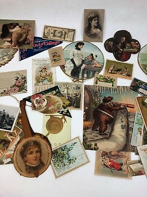 70 ANTIQUE VICTORIAN ADVERTISING Assorted TRADE CARDS And Hang Tags Tickets FS