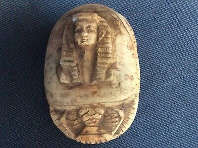 Egyptian scarab of carved stone, probably paperweight. Hieroglyphs and Sphinx