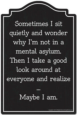 Sometimes I Sit Quietly And Wonder Novelty Sign   Funny Home Decor Garage Wall