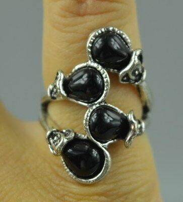 Collectible Tibet Silver Carve Flower Inlay Black Zircon Exquisite Woman Ring