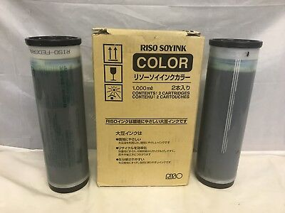 New Box of 2 Riso Soyink Color Blue 1000 ml S-4395