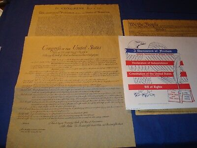 US Historical Document Set ,3 Documents of Freedom. 6 pages, Constitution, Repro