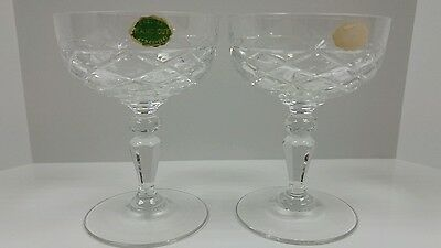 (2) Vintage English Hand Cut Lead Crystal Champagne/Wine Glasses Pineapple Style